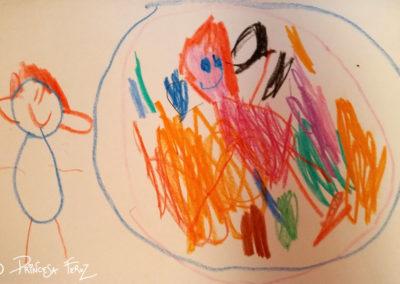 Mamá en una burbuja de colores